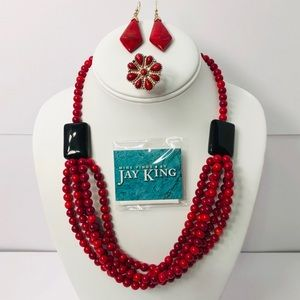 Jay King Red Coral Onyx Necklace & More